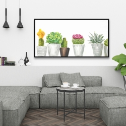 Framed 24 x 48 - Mini cactus and succulents
