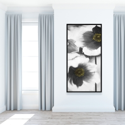 Framed 24 x 48 - Black and white flowers