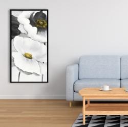 Framed 24 x 48 - Assorted white flowers