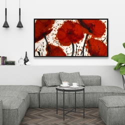 Framed 24 x 48 - Abstract paint splash red flowers