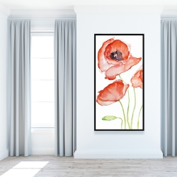 Framed 24 x 48 - Watercolor poppies