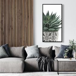 Framed 24 x 48 - Zebra plant succulent