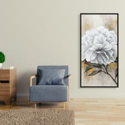 Framed 24 x 48 - White peony