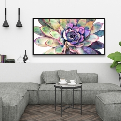 Framed 24 x 48 - Multicolored succulent