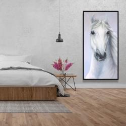 Framed 24 x 48 - Powerful white horse