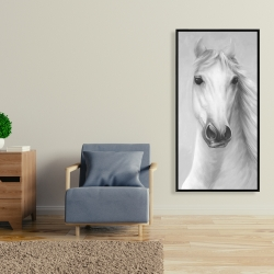 Framed 24 x 48 - Monochrome mighty white horse