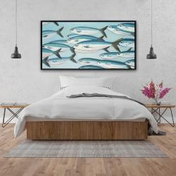 Framed 24 x 48 - Small fish of caesio caerulaurea