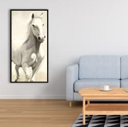 Framed 24 x 48 - Gallant white horse