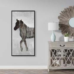 Framed 24 x 48 - Gambading abstract horse