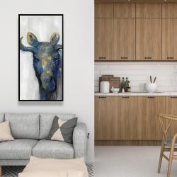 Framed 24 x 48 - Blue moose
