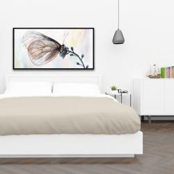 Framed 24 x 48 - Butterfly on blue flowers