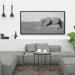 Framed 24 x 48 - Elephants in the savannah