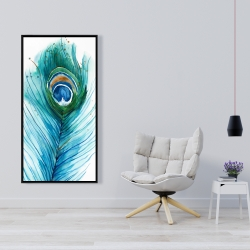 Framed 24 x 48 - Long peacock feather