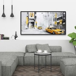 Framed 24 x 48 - New york city with taxis