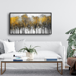 Framed 24 x 48 - Abstract yellow forest
