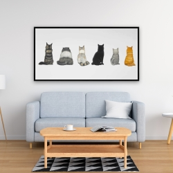 Framed 24 x 48 - Six cats lined up back view