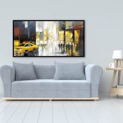 Framed 24 x 48 - Rainy busy street