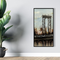 Framed 24 x 48 - City bridge by a cloudy day