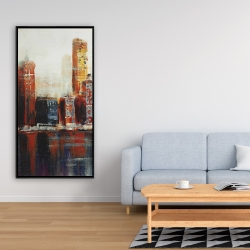 Framed 24 x 48 - Abstract red cityscape