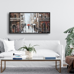 Framed 24 x 48 - City rain