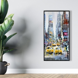 Framed 24 x 48 - Urban scene with yellow taxis