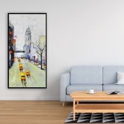 Framed 24 x 48 - Gray street with yellow and red accents