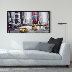Framed 24 x 48 - Abstract street with yellow taxis