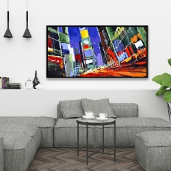 Framed 24 x 48 - Colorful times square by night