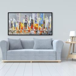Framed 24 x 48 - Color splash cityscape