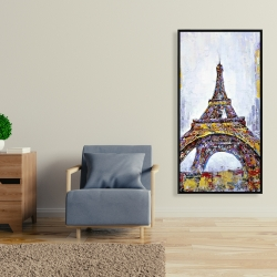 Framed 24 x 48 - Abstract paint splash eiffel tower