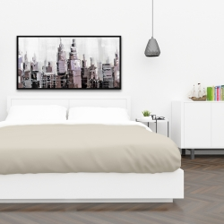 Framed 24 x 48 - Abstract grayscale cityscape