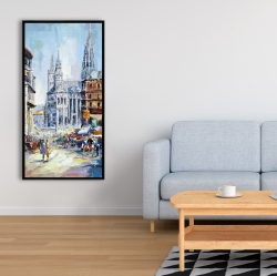 Framed 24 x 48 - Busy street by a sunny day