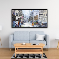 Framed 24 x 48 - Busy street by a cloudy day