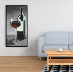 Framed 24 x 48 - Bottle of burgundy