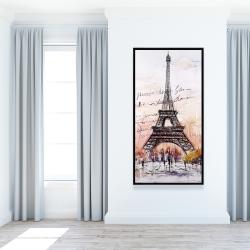 Framed 24 x 48 - Eiffel tower sketch with an handwritten message