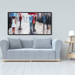 Framed 24 x 48 - People with umbrellas in the street