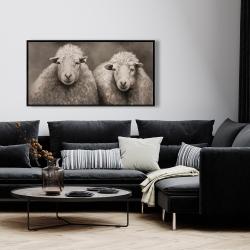 Framed 24 x 48 - Sheep sepia