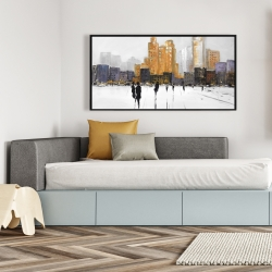 Framed 24 x 48 - Silhouettes walking towards the city