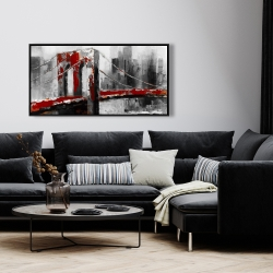 Framed 24 x 48 - Abstract and red brooklyn bridge