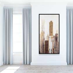 Framed 24 x 48 - Abstract earthy tones city