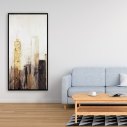 Framed 24 x 48 - Earthy tones city