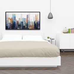 Framed 24 x 48 - Texturized abstract city