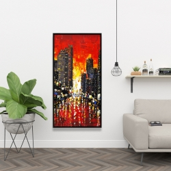 Framed 24 x 48 - Abstract sunset on the city