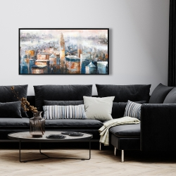 Framed 24 x 48 - Cityscape of new york with the chrysler building