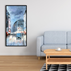 Framed 24 x 48 - Abstract red and blue city