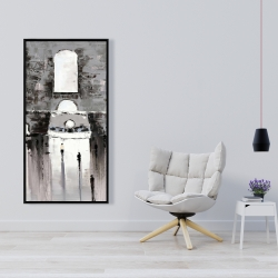 Framed 24 x 48 - Gray building with passersby