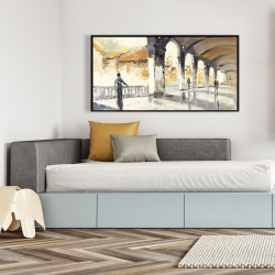 Framed 24 x 48 - People in a spacious hall