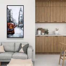 Framed 24 x 48 - Abstract london and red bus