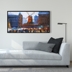 Framed 24 x 48 - Street scene to moulin rouge