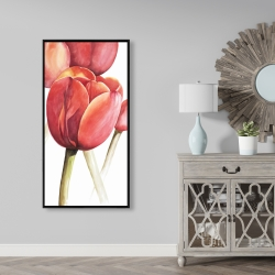 Framed 24 x 48 - Blossoming tulips closeup